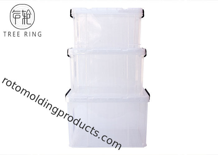 Clear / Transparent Collapsible Plastic Crate Lightweight 45l For Office